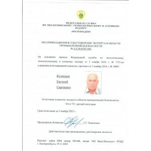 Удостоверение эксперта по промышленной безопасности 3 категории.